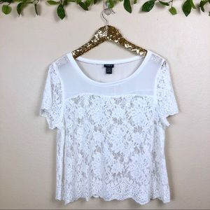 Torrid • White Lace Chiffon Top